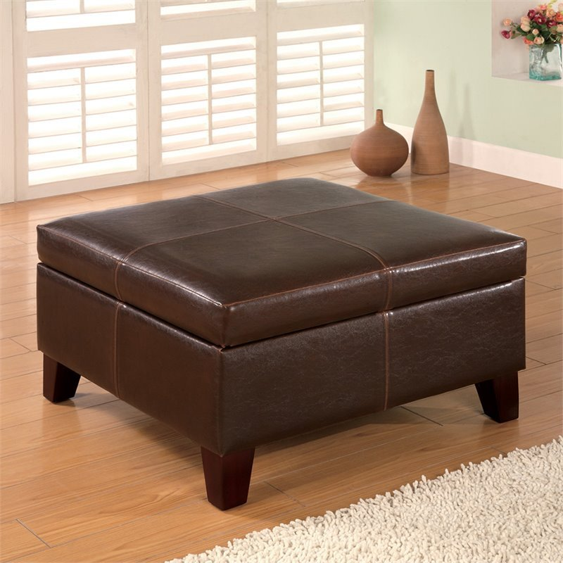 Bowery Hill Faux Leather Square Coffee Table Ottoman in Dark Brown