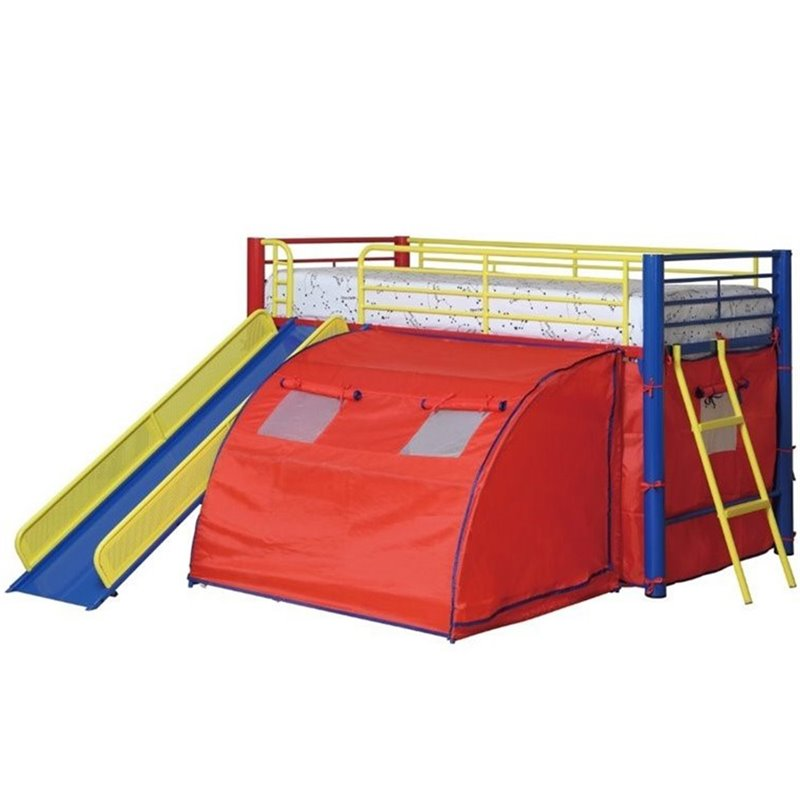 Bowery Hill Kids Metal Twin Loft Bunk Bed With Slide And Tent Bh