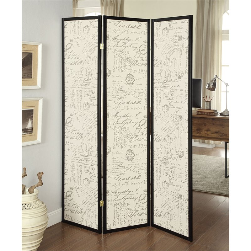 Bowery Hill 3 Panel French Script Room Divider in Black and Brass