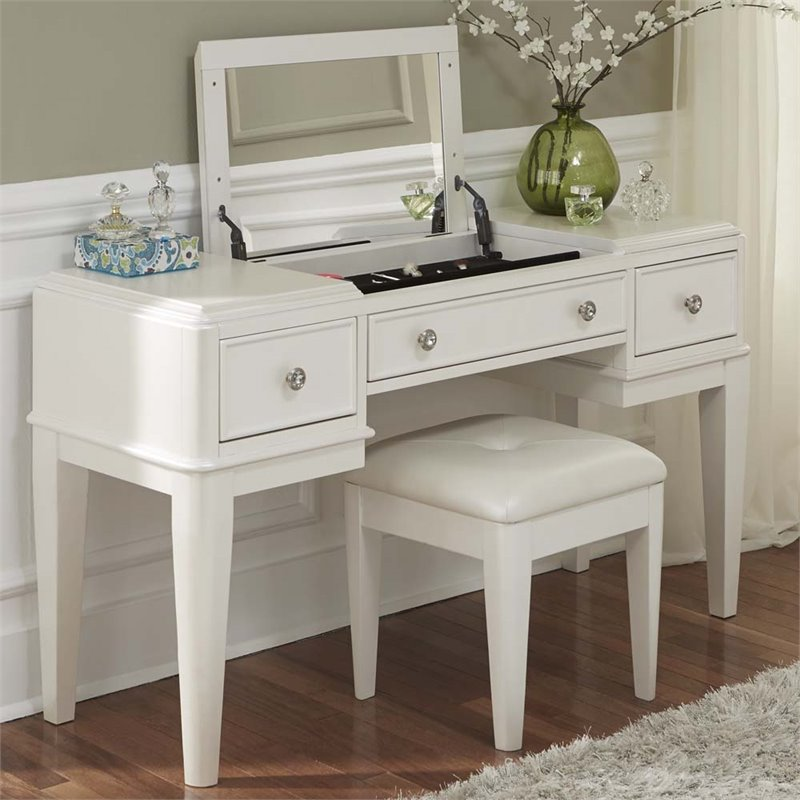Bowery Hill Bedroom Vanity in Iridescent White