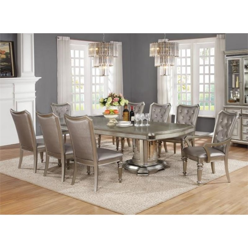 Bowery Hill 7 Piece Dining Set in Metallic Platinum
