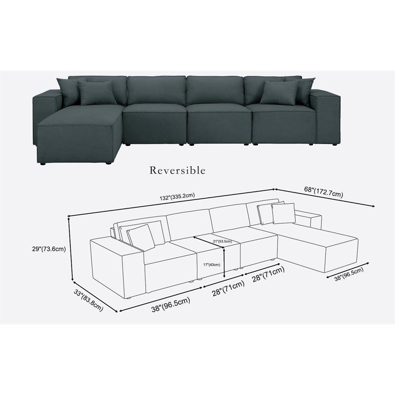 Outstanding Bowery Hill Ermont Sectional Sofa With Reversible Chaise In Dark Gray Linen Caraccident5 Cool Chair Designs And Ideas Caraccident5Info