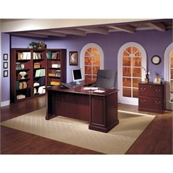 Pemberly Row L-Shape Executive Desk in Harvest Cherry