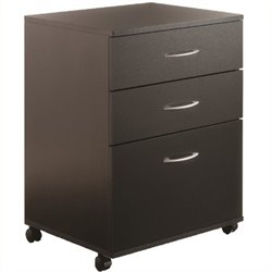 Pemberly Row Mobile 3 Drawer Vertical Mobile Wood Filing Cabinet in Black