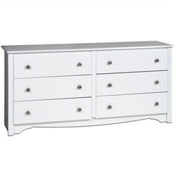 Pemberly Row White 6 Drawer Double Dresser