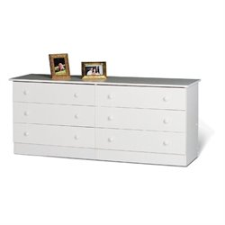 Pemberly Row White Six Drawer Double Dresser in White