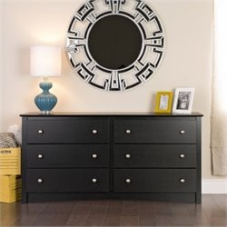 Pemberly Row Black 6 Drawer Double Dresser