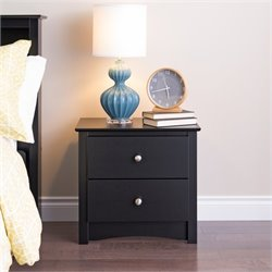 Pemberly Row Black 2 Drawer Nightstand