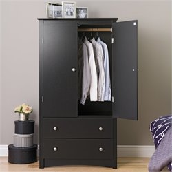 Pemberly Row Black Wardrobe Armoire