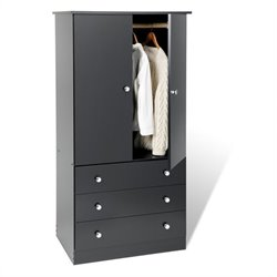 Pemberly Row Black Juvenile TV Wardrobe Armoire