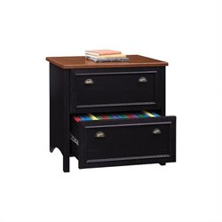 Pemberly Row 2 Drawer File Cabinet in Antique Black and Cherry