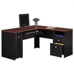 Pemberly Row L-Shaped Wood Computer Desk in Black