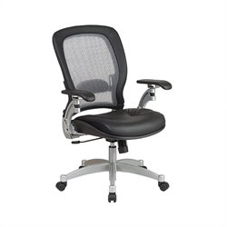 Pemberly Row Air Grid Leather Office Chair in Black and Platinum