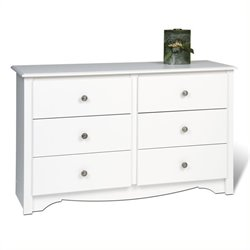 Pemberly Row White Condo Sized 6 Drawer Double Dresser