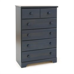 Pemberly Row 5 Drawer Chest in Antique Blue Finish