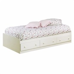 Pemberly Row Twin Mates Bed in White Wash