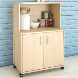Pemberly Row Microwave Kitchen Cart in Natural Maple