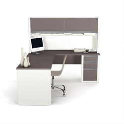 Pemberly Row L-Shape Wood Computer Desk with Hutch in Sandstone and Slate