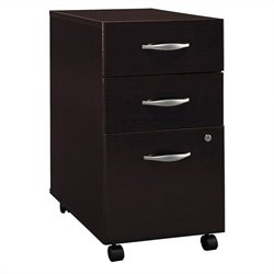 Pemberly Row 3Dwr Mobile Pedestal in Mocha Cherry