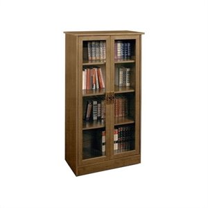 Pemberly Row 4-Shelf Glass Door Barrister in Inspire Cherry