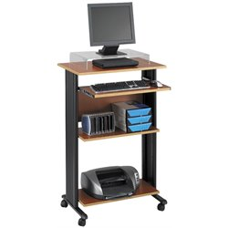 Pemberly Row Standing Wood Workstation in Cherry