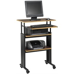 Pemberly Row Stand-Up Adjustable Height Workstation in Cherry