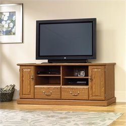 Pemberly Row Wood TV Stand in Carolina Oak finish