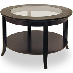 Pemberly Row Round Wood Coffee Table with Glass Top in Dark Espresso