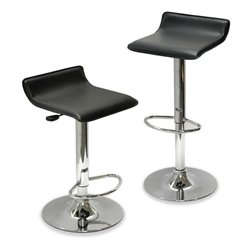 Pemberly Row Adjustable Air Lift Bar Stools in Black (Set of 2)