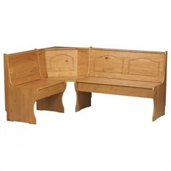 Pemberly Row Kitchen Dining Nook Corner Bench in Natural