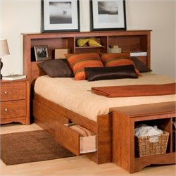 Pemberly Row Full Queen Bookcase Headboard in Cherry Finish