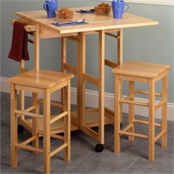 Pemberly Row Drop Leaf Table Kitchen Cart with 2 Stools in Natural
