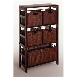 Pemberly Row 6 Piece Set Shelf and Baskets in Espresso