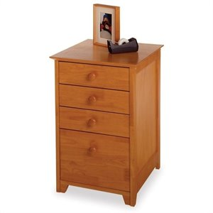 Pemberly Row 4 Drawer Wood Vertical Filing Cabinet in Honey Pine