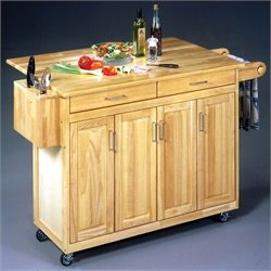 Pemberly Row Kitchen Cart with Breakfast Bar in Natural Finish
