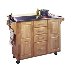 Pemberly Row Stainless Steel Kitchen Cart with Breakfast Bar in Natural Finish