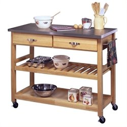 Pemberly Row Stainless Steel Top Kitchen Cart in Natural