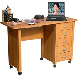 Pemberly Row Mobile Wood Computer Desk in Oak