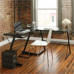 Pemberly Row L Shape Glass Top Computer Desk in Black