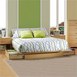 Pemberly Row Full Queen Platform Storage Bed Frame Only in Natural Maple Finish