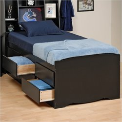 Pemberly Row Black Tall Twin Platform Storage Bed