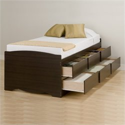 Pemberly Row Tall Twin Platform Storage Bed in Espresso