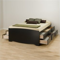 Pemberly Row Black Tall Queen Platform Storage Bed with 12 Drawers