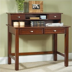 Pemberly Row Wood Student Writing Desk with Hutch in Cherry