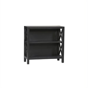 Pemberly Row 2 Shelf Standard Wood Bookcase in Distressed Antique Black
