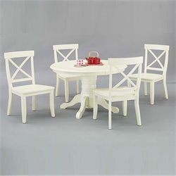 Pemberly Row 5 Piece Round Dining Table Set in Antique White