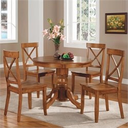Pemberly Row Cottage Oak 5 PC Pedestal Dining Table Set