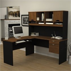 Pemberly Row L-Shape Wood Computer Workstation with Hutch in Tuscany Brown