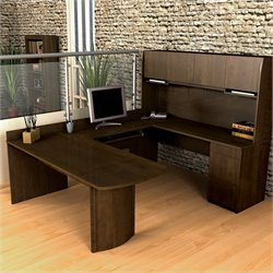 Pemberly Row U-Shape Wood Office Set with Hutch in Chocolate