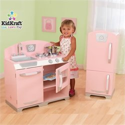 Pemberly Row Retro Kitchen with Refrigerator in Pink
